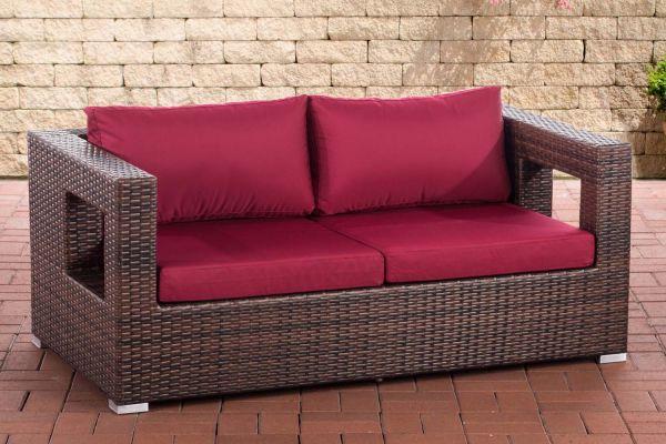 2er Sofa Honolulu rubinrot braun-meliert