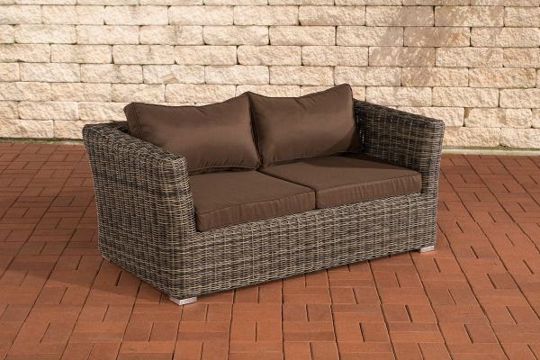 2er Sofa Mandal Terrabraun grau-meliert