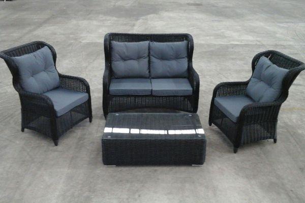 2er Sofa + Sessel Toledo + Tisch Tessera, Ausstellungsstück-rund_schwarz-Eisengrau schwarz