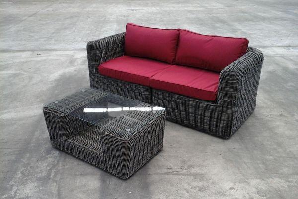 2x Eck-Sofa Marbella + Tisch Moss graumeliert/rot-rund_graumeliert-Rubinrot grau-meliert
