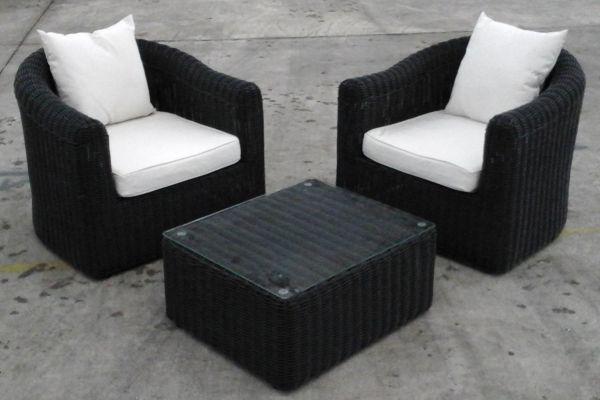 2x Sessel Bergen + Tisch Marbella, B-Ware-rund_schwarz-Cremeweiss schwarz