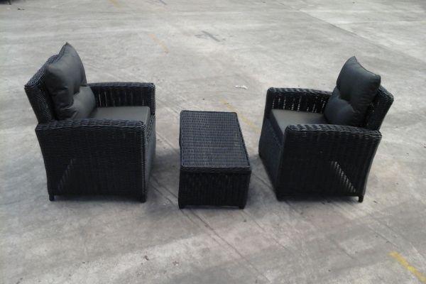 2x Sessel Fisolo + Tisch Montero ohne Glasplatte, B-Ware-rund_schwarz-Anthrazit schwarz