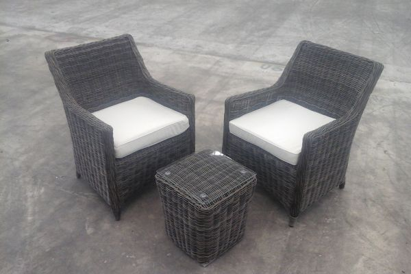 2x Sessel Sandnes + Beistelltisch Mandal, Grau-meliert/Creme, B-Ware-rund_graumeliert-Cremeweiss grau-meliert