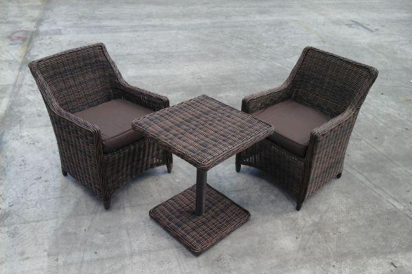 2x Sessel Sandnes + Tisch Palermo ohne Glasplatte-rund_braunmeliert-Terrabraun braun-meliert
