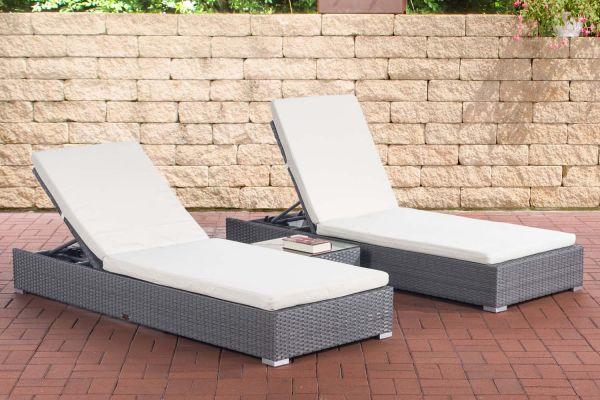 2x Sonnenliege Nadi mit Tisch cremeweiß grau