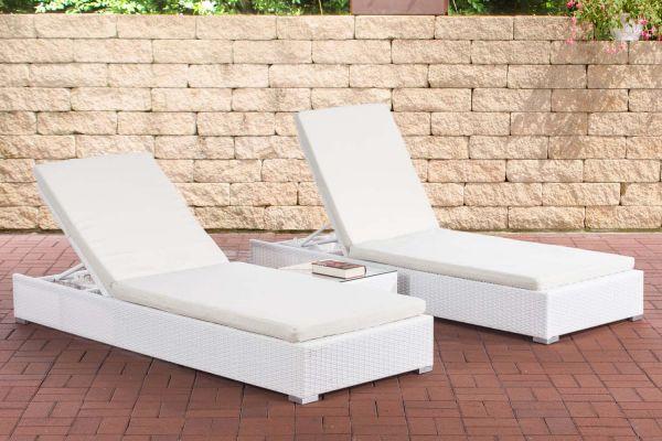 2x Sonnenliege Nadi mit Tisch cremeweiß weiß