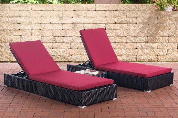 2x Sonnenliege Nadi mit Tisch rubinrot schwarz