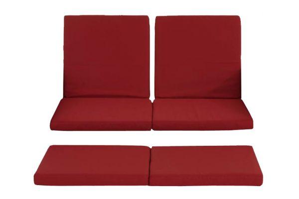 3er-Set Kissenbezüge Sofa Ancona Rundrattan rubinrot