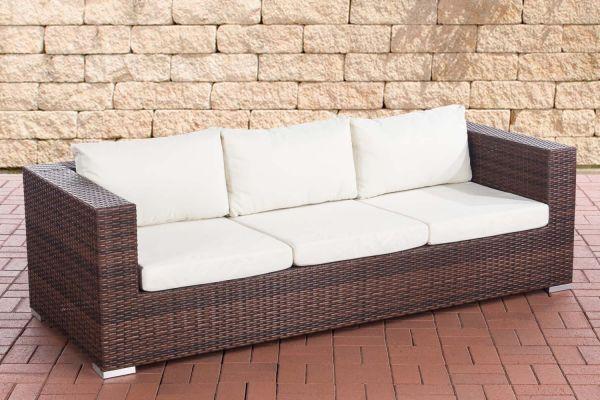3er Sofa Casablanca cremeweiß braun-meliert