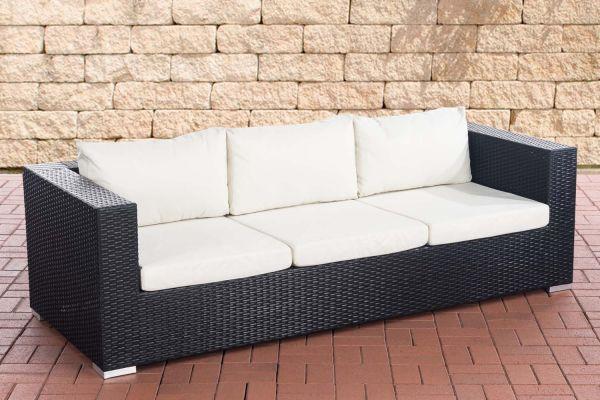 3er Sofa Casablanca cremeweiß schwarz