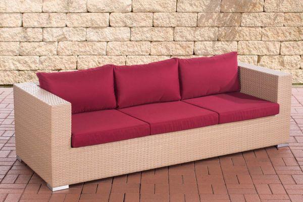 3er Sofa Casablanca rubinrot sand