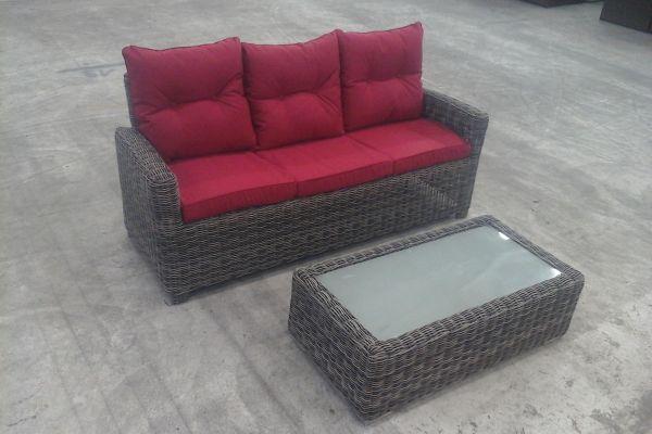 3er Sofa Fisolo + Tisch Tessera, Grau-meliert/Rubinrot, B-Ware-rund_graumeliert-Rubinrot grau-meliert