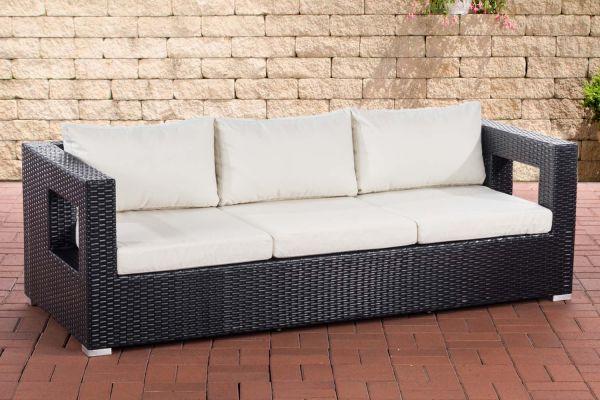 3er Sofa Honolulu Flachrattan schwarz