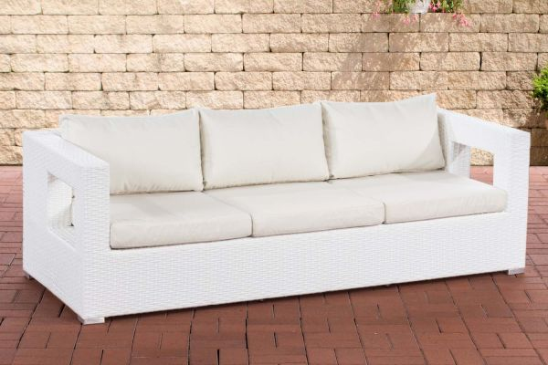 3er Sofa Honolulu Flachrattan weiß