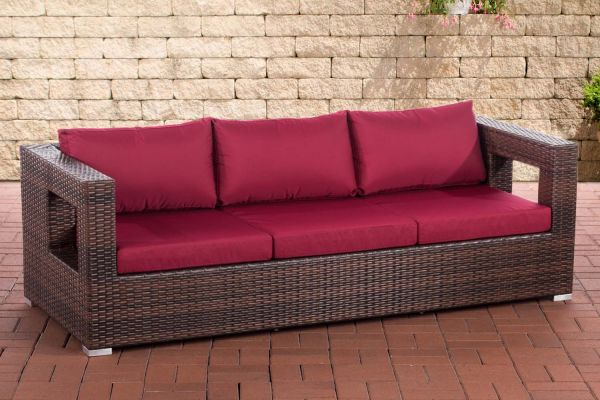 3er Sofa Honolulu rubinrot braun-meliert