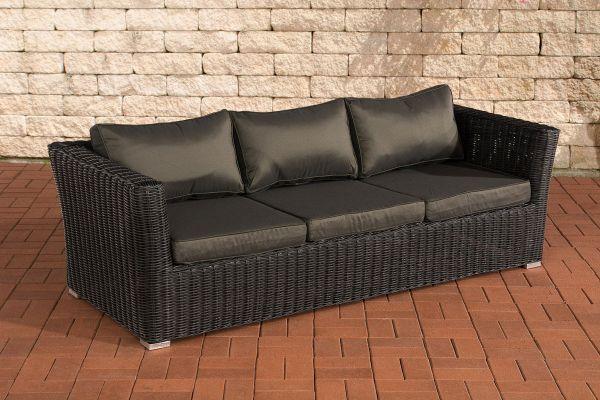 3er Sofa Mandal Anthrazit schwarz