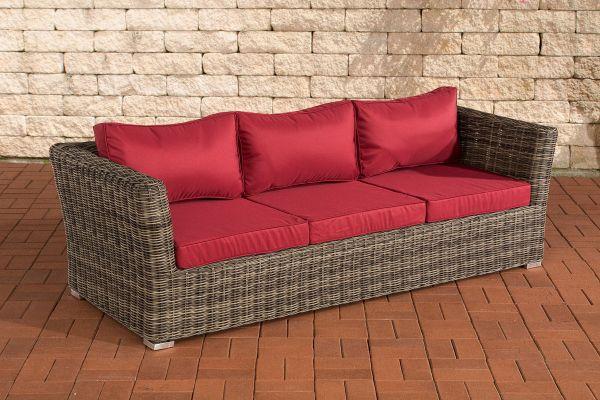 3er Sofa Mandal Rubinrot grau-meliert