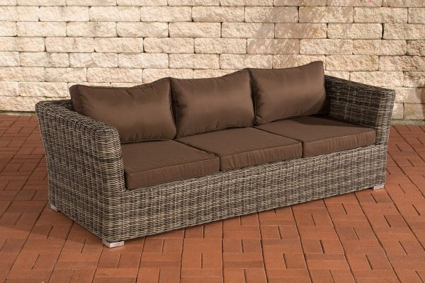 3er Sofa Mandal Terrabraun grau-meliert