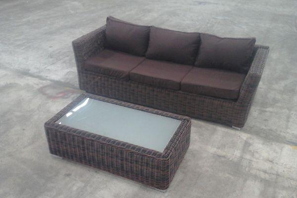 3er Sofa Mandal + Tisch Tessera, Braun-meliert/Terrabraun, B-Ware-rund_braunmeliert-Terrabraun braun-meliert