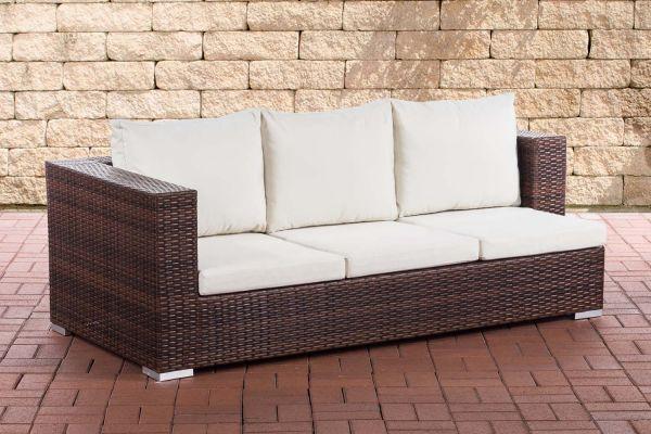 3er Sofa Provence Cremeweiß braun-meliert