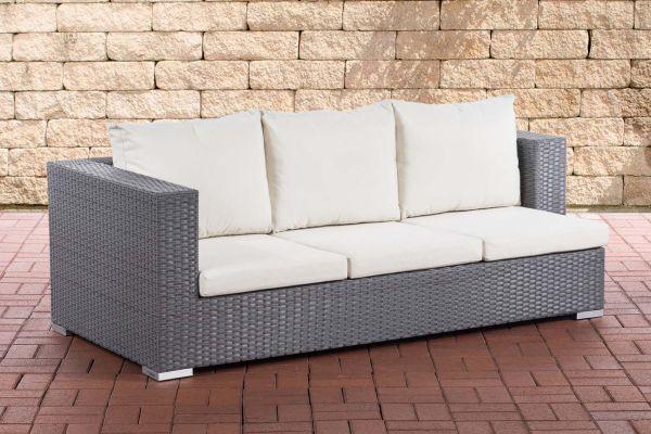 3er Sofa Provence Cremeweiß grau