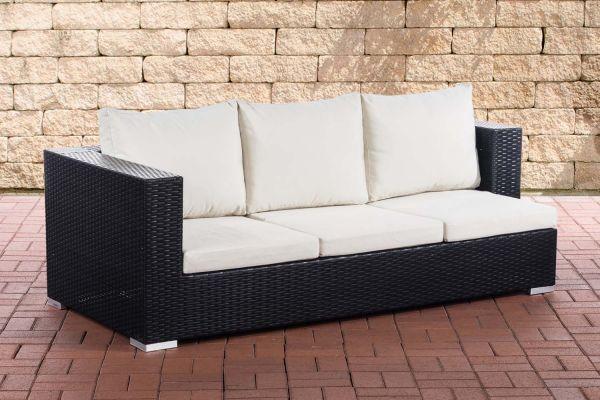 3er Sofa Provence Cremeweiß schwarz