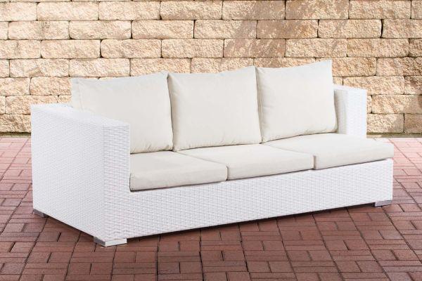 3er Sofa Provence Cremeweiß weiß