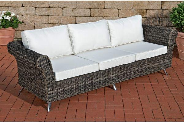 Polyrattan24de 3er Sofa Vivari Creme Polyrattan Clp