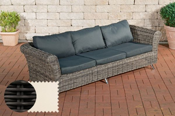 3er Sofa Vivari Cremeweiß schwarz