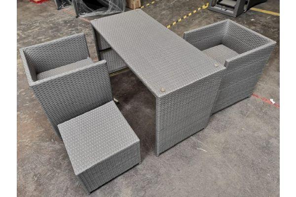 #G 534: 2x Stuhl mit 1x Hocker und Tisch Tahiti grau-grau