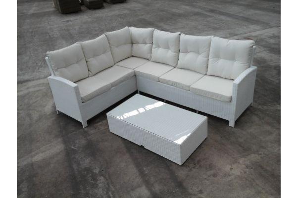 Gartengarnitur Bermeo + Tisch Paradiso, Weiß/Cremeweiß, Ausstellungsstück