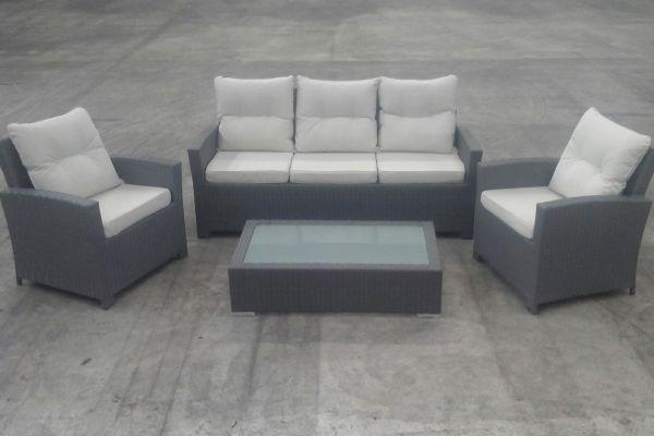 Gartengarnitur Fisolo + Tisch Tessera, B-Ware-grau_flach-Cremeweiss grau
