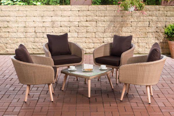Lounge-Set Ameland Flachrattan Sitzhöhe 40 cm