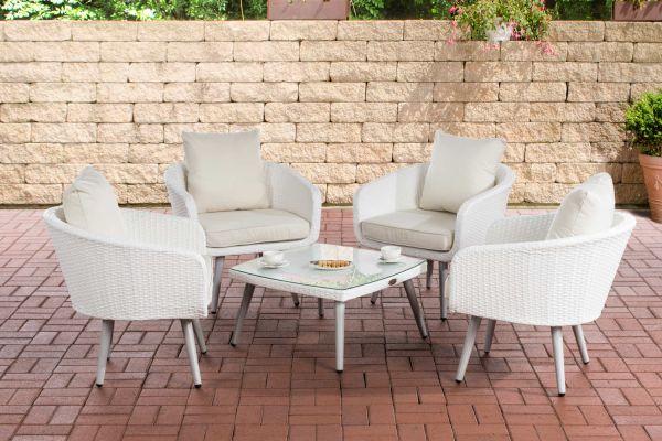 Lounge-Set Ameland Flachrattan cremeweiß 40 cm (Hellgrau) weiß
