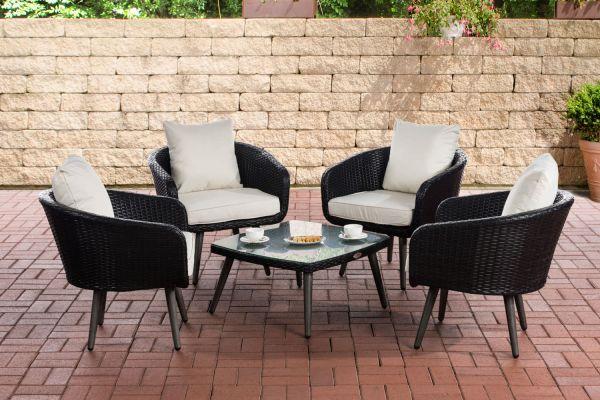 Lounge-Set Ameland Flachrattan cremeweiß 45 cm (Dunkelgrau) schwarz