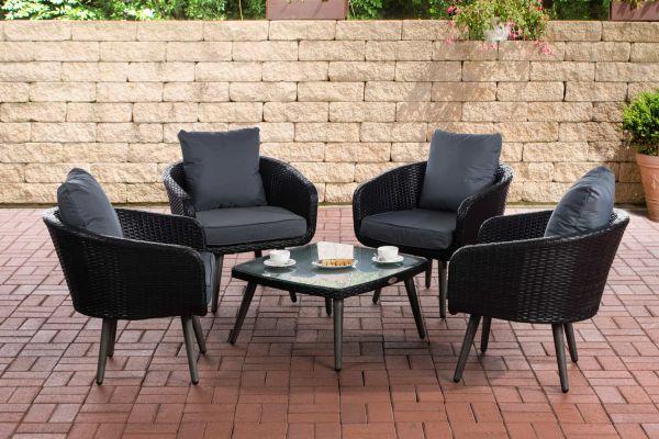Lounge-Set Ameland Flachrattan eisengrau 40 cm (Dunkelgrau) schwarz
