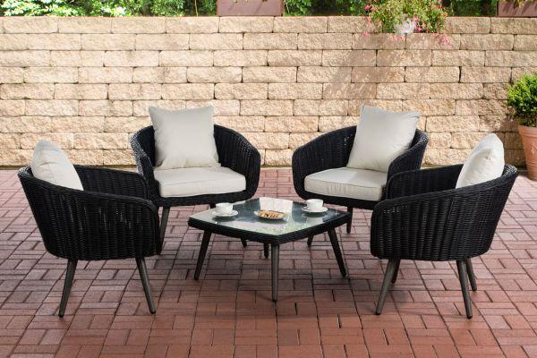 Lounge-Set Ameland Rundrattan Sitzhöhe 45 cm