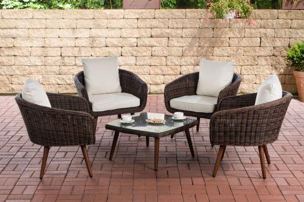 Lounge-Set Ameland Rundrattan cremeweiß 40 cm (Dunkelbraun) braun-meliert