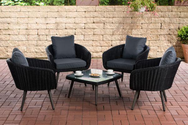 Lounge-Set Ameland Rundrattan eisengrau 40 cm (Dunkelgrau) schwarz