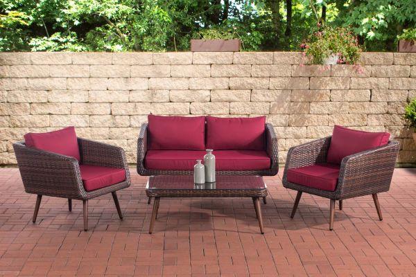 Lounge-Set Trosa Flachrattan rubinrot 40 cm (Dunkelbraun) braun-meliert