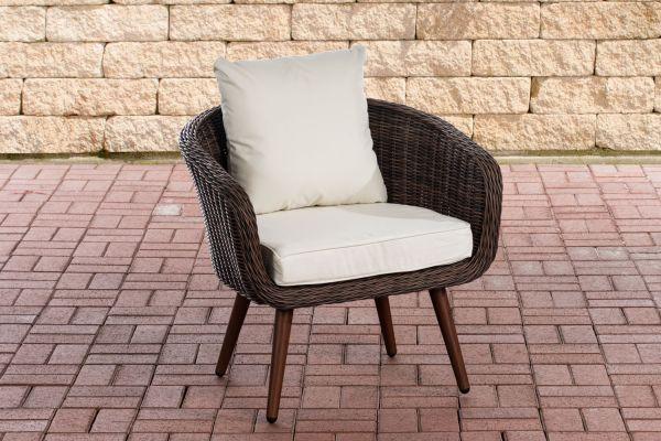 Sessel Ameland Rund cremeweiß 45 cm (Dunkelbraun) braun-meliert