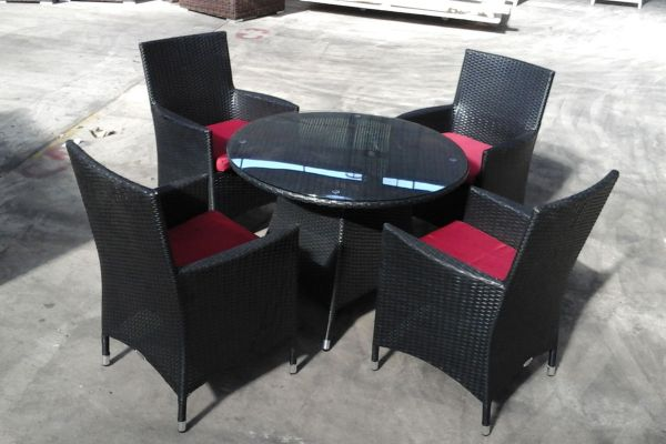 Sitzgruppe Sanremo, B-Ware-schwarz_flach-Rubinrot schwarz