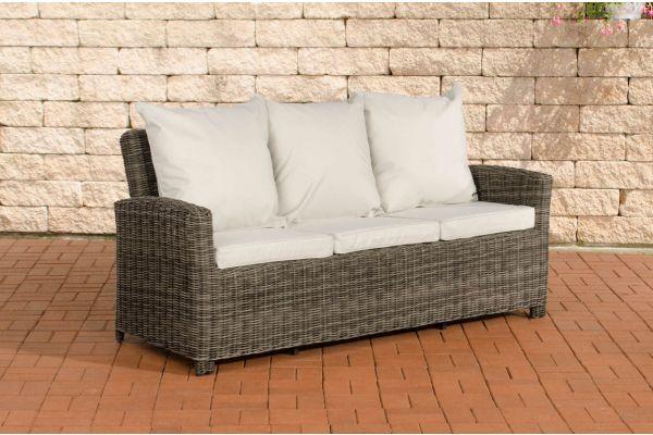 Sofa 3er Fisolo Cremeweiss 5mm grau-meliert