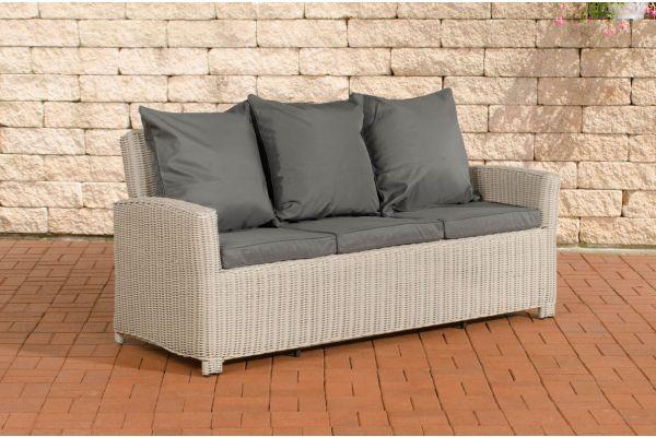 Sofa 3er Fisolo Eisengrau 5mm perlweiß