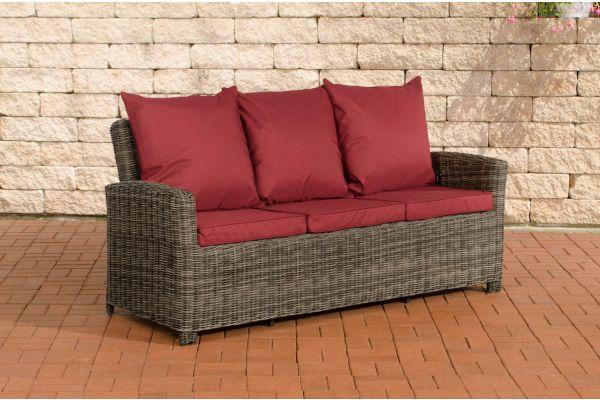 Sofa 3er Fisolo Rubinrot 5mm grau-meliert