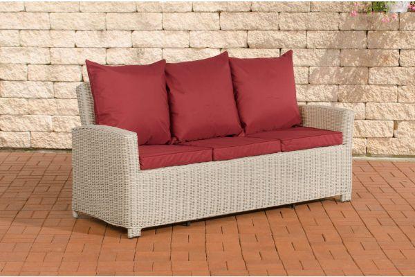 Sofa 3er Fisolo Rubinrot 5mm perlweiß