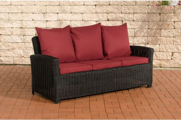 Sofa 3er Fisolo Rubinrot 5mm schwarz