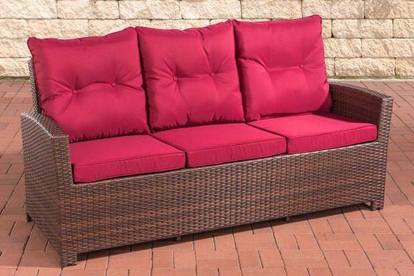Sofa 3er Fisolo Rubinrot braun-meliert