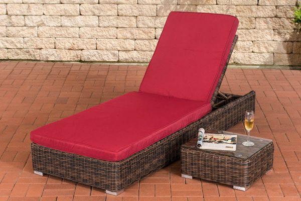 Sonnenliege Atessa inkl. Beistelltisch Rubinrot braun-meliert
