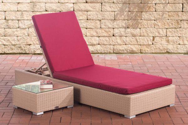 Sonnenliege Nadi mit Tisch rubinrot grau